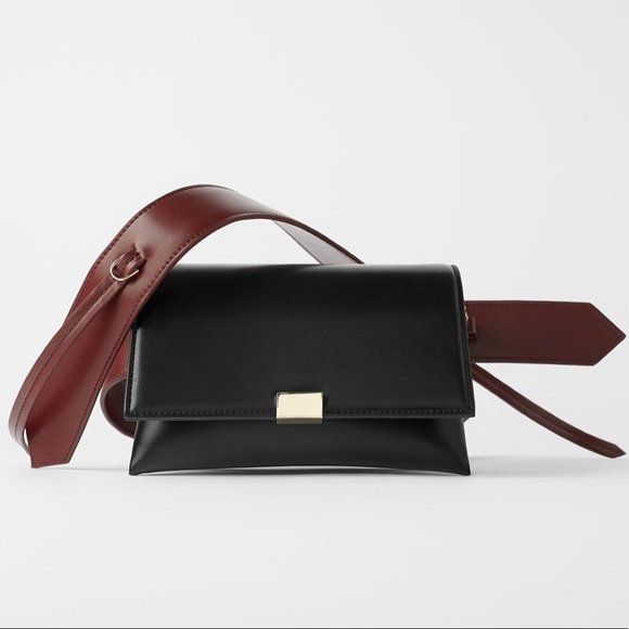 Zara minimalist crossbody bag in burgundy & black